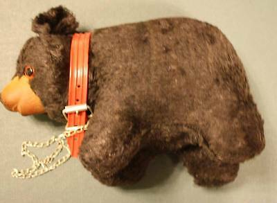 Vintage Standing black bear with red collar and chain 1960's-GREAT CHARACTER!