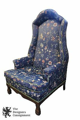 Mid Century Drexel Hooded Wingback Porters Arm Chair Victorian Georgian Style