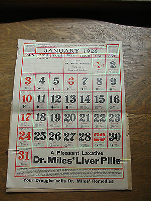 Dr. Miles Weather Calendar, 1926, old, remedies, medicine, R.H. Berry,Pharmacist