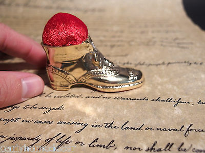 Antique Vintage Style Victorian Brass Slipper Miniature Shoe Sewing Pin Cushion