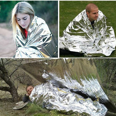 Waterproof Emergency Survival Rescue Space Foil Thermal First Aid Blanket Silver