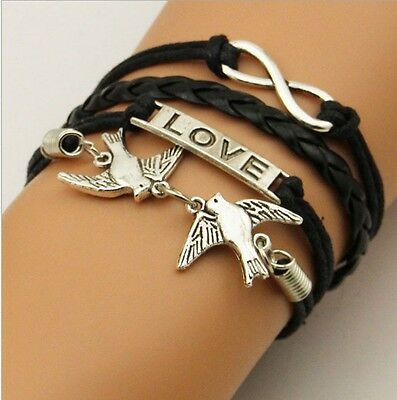 NEW Hot Infinity Love Anchor Leather Cute Charm Bracelet plated Silver DIY XL87
