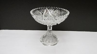 Antique/Vintage ABP American Brilliant Cut Glass Footed Compote
