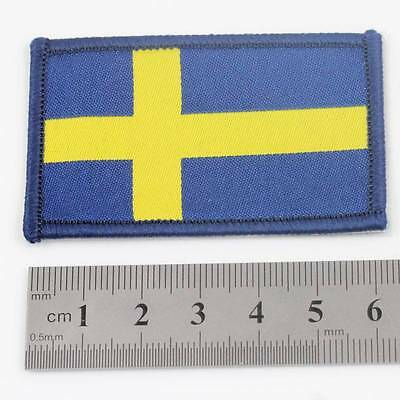 SWEDEN IRON ON 6.5cm x 4cm EMBROIDERED SWEDISH NATIONAL FLAG  PATCH BADGE 076