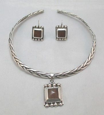 Sterling Silver Braided Choker Rope Amber Pendant Necklace & Earrings Mexico **