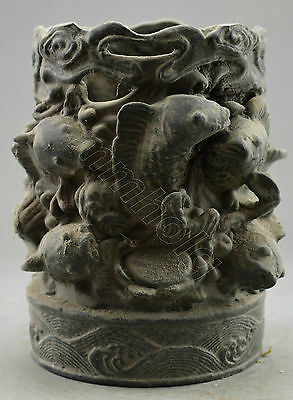 Collectible Decorated Old Handwork Bronze Carved Fish Brush Pot