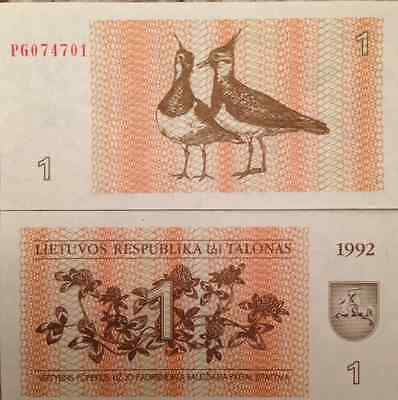 Lithuania 1992 1 Talonas Uncirculated Banknote P-39 Lapwing Birds Usa Seller !!!