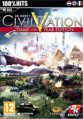 Sid Meier's Civilization V 5 Game of the Year Edition for PC XP/Vista/7/8 New
