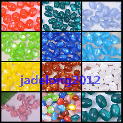Wholesale 100pcs Charm Oval Acrylic Cat's Eye Spacer Beads 6X8MM