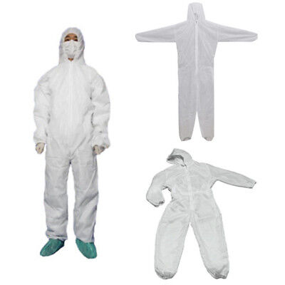White Disposable DIY Overall Suit Protective Hood Coverall Work Clothes M-3XL
