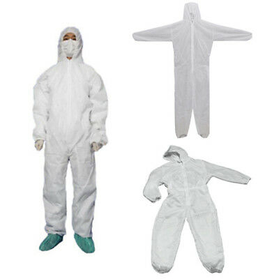 White Disposable Overall Suit Hood Non-woven Dust-proof Clothing M-3XL