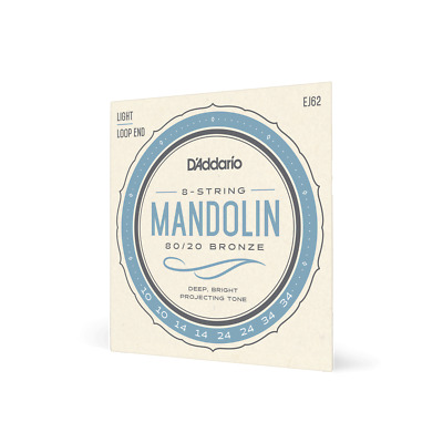 D'Addario EJ62 Mandolin Strings Set. 80/20 Bronze Mandolin Strings, Loopend