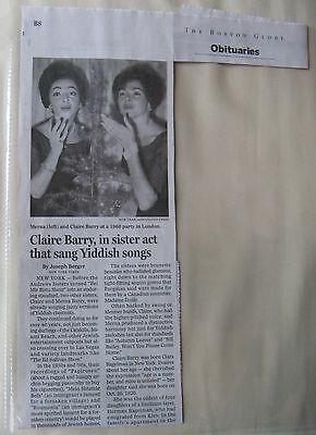 Obituary: Boston Globe 12/5/2014 Claire Barry 1950's Sister Act Yiddish Songs