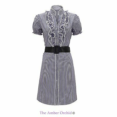 New Womans Ladies Polka Vintage Flared Short Sleeve Belted Party Top Dress 8-14