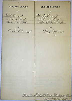 United States October 4 & 5 1865 Civil War Morning Reports Albany New York.