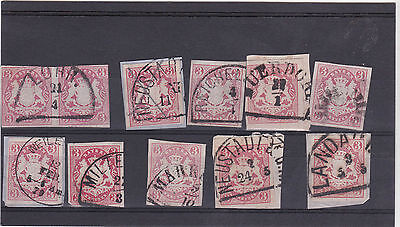 VERY NICE LOT OF GERMANY STATE OF BAVARIA IMPERF STAMPS IN FINE USED (28)
