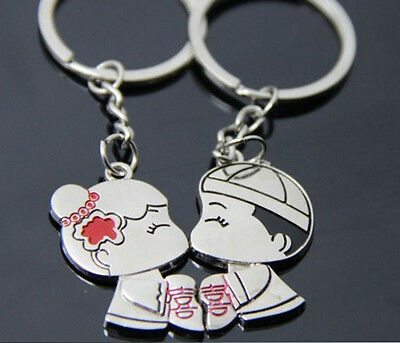 A couple keychain Fashion Metal couples keychains Key Ring for lover F097