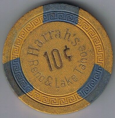 Harrah's Hotel 10¢ Casino Chip Small Key Mold Reno Lake Tahoe Nevada 1980