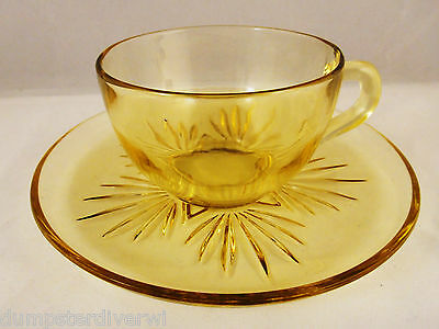 Star Federal Glass company Gold Yellow cup & saucer Depression 1950s vintage