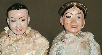 ESTATE sale /INTRIGUATE PAIRE  OF ASIAN DOLLS  *paper mache* glass  eyes SEE