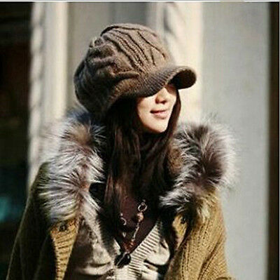 Coffee Korean Winter Warm Women Crochet Knit Ski Beanie Wool Peaked Hat Cap