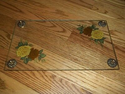 Vintage Rectangular Glass Dresser Tray With Roses & Gold Tone Accents