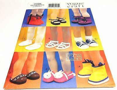"""Vogue 7329 OOP 18"""" Doll Shoes Boots Slippers Sandals Clogs Sewing Pattern"""