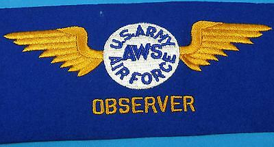 WWII US Army Air Force Aircraft Observer Embroidered Arm Band New Old Stock WW2