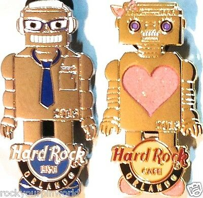 Hard Rock Cafe & Live ORLANDO 2013 ROBOT GIRL Gold & BOY Silver PINS NEW HR Bags