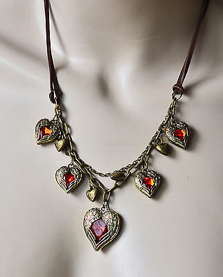 Free shipping New Fashion Red Heart with Angel wing double Rope Pendant Necklace