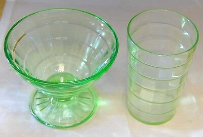 Depression Glass HOCKING Green BLOCK OPTIC Sherbet & Tumbler