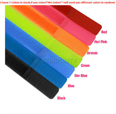 New 50Pcs Velcro Cable Cord Tie Strap Wire Rope Organiser Holder Trim PC Colors!