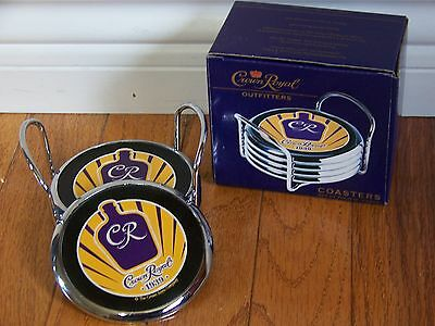 set of 4 CROWN ROYAL coasters with caddy NEW IN BOX