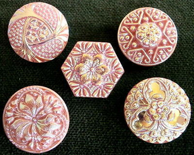 Collection of 5 UNIQUE Czech PINK Glass Buttons #D160 - IRIDESCENT FINISH!!!