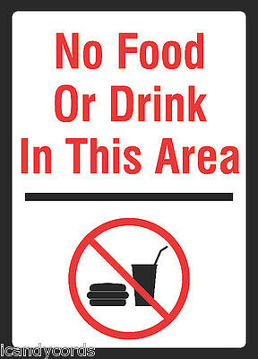 NO FOOD OR DRINK IN THIS AREA Warning Sign pool signs ...