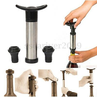 Stainless Bottle Vacuum Wine Preserver Saver Sealer Pump With 2 Stoppers
