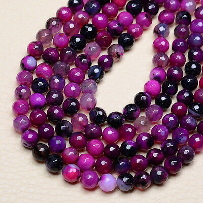 8MM PURPLE FIRE AGATE GEMSTONE FACETED ROUND BEADS STRAND 14 3/4""