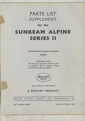 1960 Sunbeam Alpine Series II Illustrated Parts Book Supplement wu6914