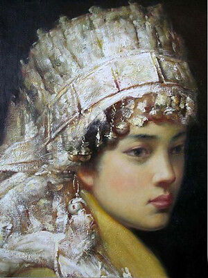 Oil painting portrait Chinese Minority girl dressed in costumes - free shipping