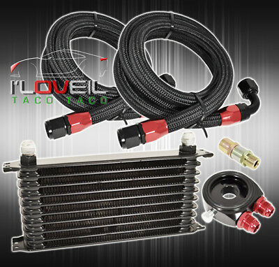 """12.5""""x2""""x7"""" 9-ROW TRANSMISSION OIL COOLER BLACK + STAINLESS LINES + ADAPTER SET"""