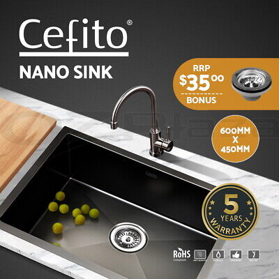 Cefito Kitchen Sink 304 Stainless Steel Nano Singe Bowl Laundry 600x450mm