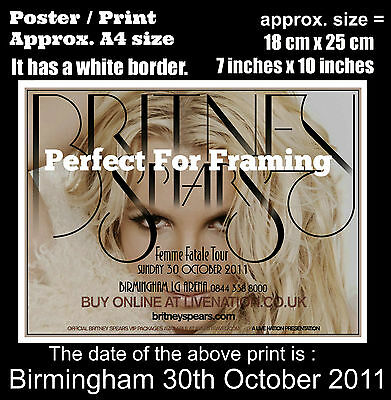 Britney Spears live concert Birmingham 30th of October 2011 A4 size poster print