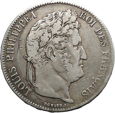 1837B France King LOUIS PHILIPPE I Antique 5 Francs Large Silver Coin i45540