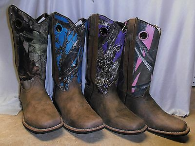 Smoky Mountain Ladies Womens BROWN Distressed Leather CAMO Cowboy Boots choice!