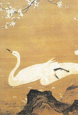 Chinese Traditional Meticulous Painting Postcard - Swans and Plum Flowers