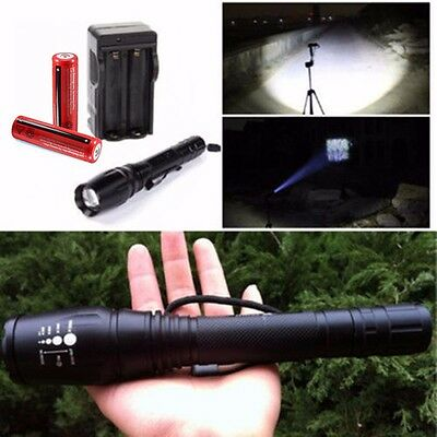 2000 Lumen CREE XML T6 LED Zoomable Lamp Flashlight Torch 18650 Battery +Charger