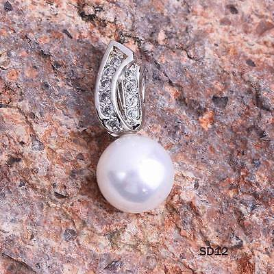 Pretty White CZ Pearl  925 Sterling Silver Beauty Pendant For Necklace