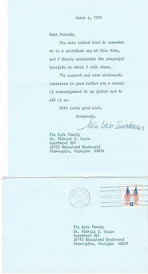 EISENHOWER, JULIE TLS WHITE HOUSE MARCH 6,1974 TO KYTE FAMILY W/ORIGINAL COVER