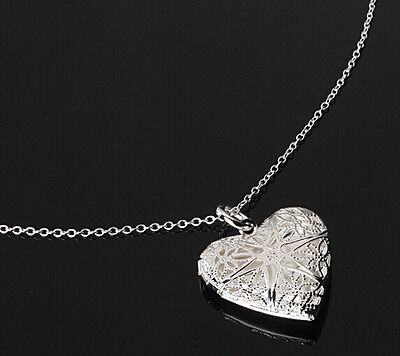 Valentine Silver Heart lover locket Chain Pendant Photo Frame Necklace Gift JT12