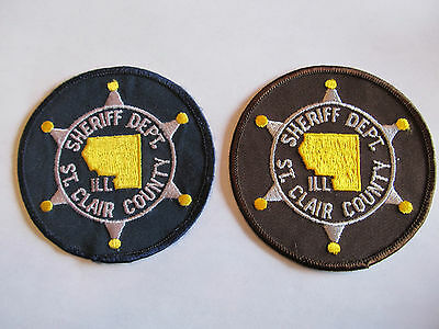 Illinois St Clair Co Sheriff Patch Set Blue & Brown